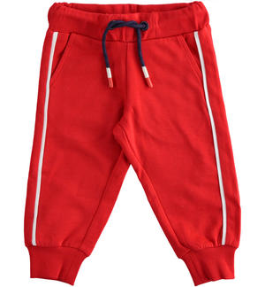 Comfortable and sporty light fleece trousers RED