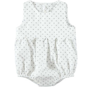 Comfortable 100% cotton romper suit with polka dots for baby girl WHITE
