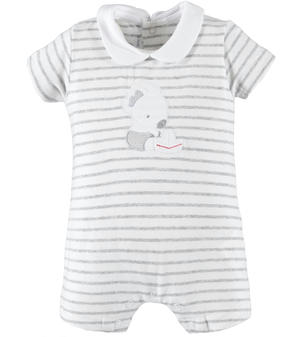 Comfortable cotton Summer romper suit for baby boy GREY