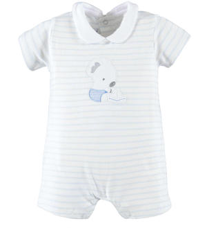 Comfortable cotton Summer romper suit for baby boy LIGHT BLUE
