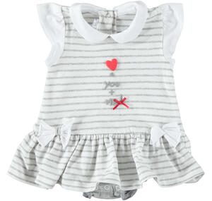 Comfortable baby girl romper suit in cotton with small sleeves and frills GREY