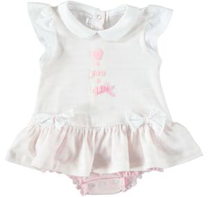 Comfortable baby girl romper suit in cotton with small sleeves and frills PINK