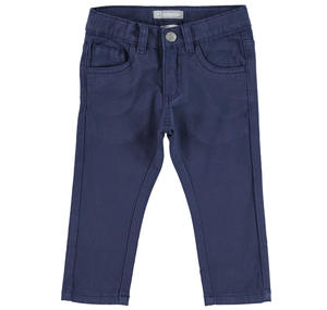 Comfortable slim fit trousers in stretch cotton twill    BLUE
