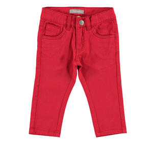 Comfortable slim fit trousers in stretch cotton twill    RED