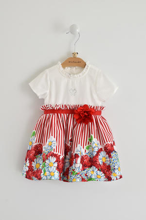 Comfortable bicolour dress with broken effect 100% cotton for baby girl RED