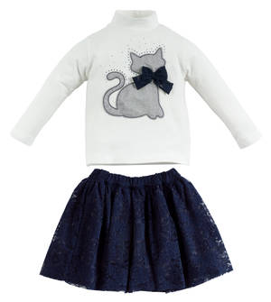 An ensemble for girls in cotton with an elegant cat BLUE
