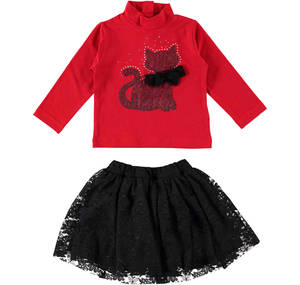 An ensemble for girls in cotton with an elegant cat RED