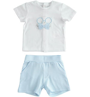 Summer clinic two-piece soft cotton baby set LIGHT BLUE
