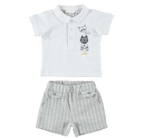 Baby boy outfit with T-shirt and Bermuda shorts GREY