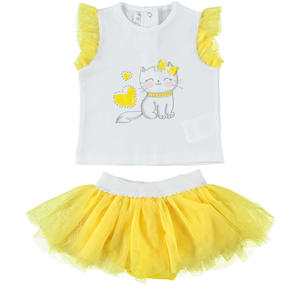 Two-piece outfit for baby girl with skirt with double flounce in tulle YELLOW