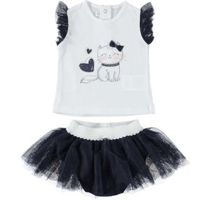 Two-piece outfit for baby girl with skirt with double flounce in tulle BLUE
