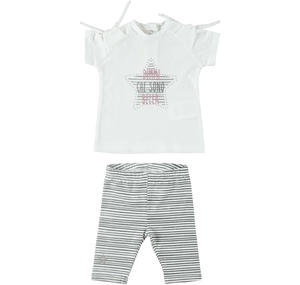Two-piece outfit for baby girl in cotton with maxi star WHITE