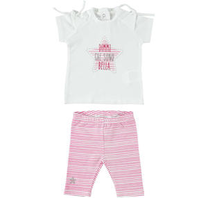 Two-piece outfit for baby girl in cotton with maxi star FUCHSIA