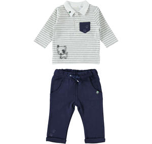 Two-piece outfit for baby boy in cotton BLUE