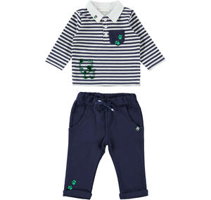 Two-piece outfit for baby boy in cotton GREEN