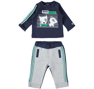 Two-piece outfit Minibanda 100% cotton for baby boy BLUE