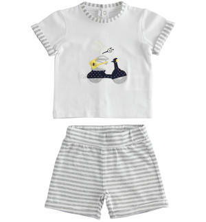Cotton two-piece summer outfit with striped shorts GREY