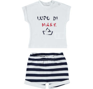 Summer two-piece outfit for baby boy in stretch cotton BLUE