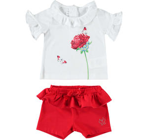 Summer two-piece outfit for baby girl in cotton RED