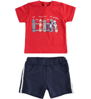 Stretch cotton two-piece summer outfit with solid fleece shorts BLUE
