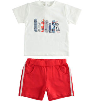 Stretch cotton two-piece summer outfit with solid fleece shorts RED