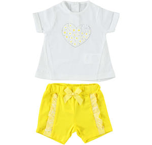 Two-piece baby girl Summer outfit full of style details YELLOW