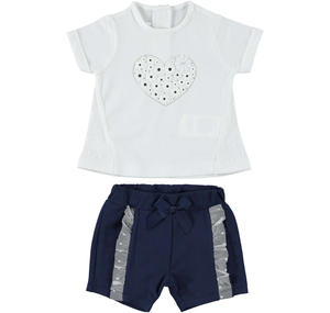 Two-piece baby girl Summer outfit full of style details BLUE