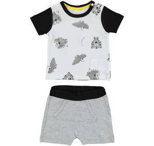 Cheerful and witty 100% cotton baby boy outfit GREY