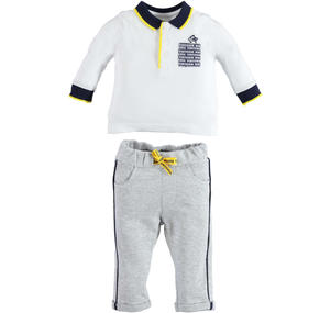 100% cotton polo shirt and trousers outfit for babies WHITE