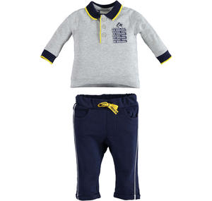 100% cotton polo shirt and trousers outfit for babies GREY