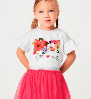 T-shirt and skirt set in tulle and glitter RED
