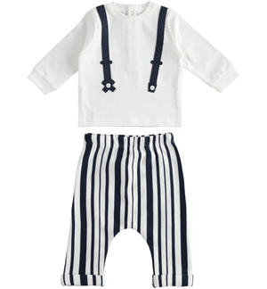 100% cotton baby set with long-sleeved shirt with fake contrasting braces WHITE