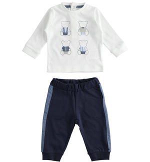 100% cotton baby set with long-sleeved shirt BLUE