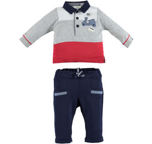 100% cotton baby outfit with striped polo shirt and trousers GREY