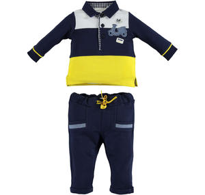 100% cotton baby outfit with striped polo shirt and trousers BLUE