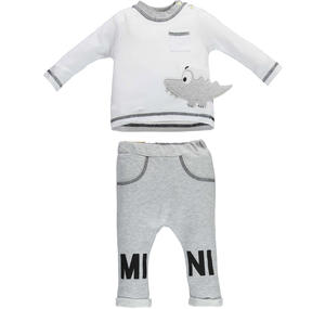 100% cotton baby boy tracksuit with cute embroidered crocodile WHITE