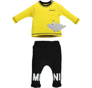100% cotton baby boy tracksuit with cute embroidered crocodile YELLOW
