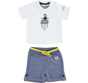 100% cotton baby boy outfit with t-shirt and shorts WHITE
