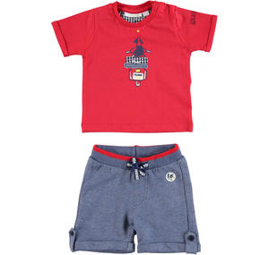 100% cotton baby boy outfit with t-shirt and shorts RED
