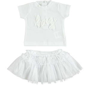 Chic t-shirt and tulle skirt outfit WHITE