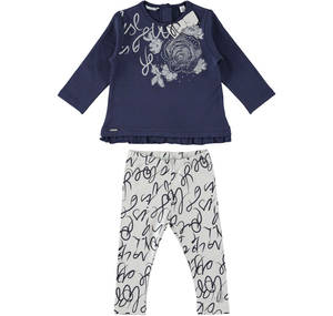 Ensemble for girls in cotton consisting in a maxi sweatshirt with flounces GREY