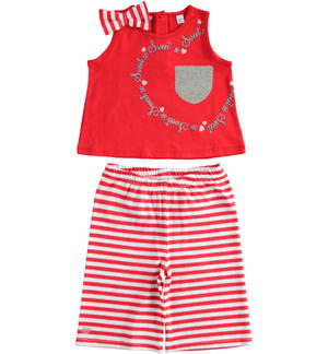 Tank top with pocket and cropped trousers RED