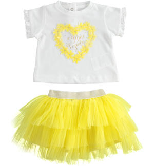 Baby girl outfit with short sleeve t-shirt with ruffles YELLOW