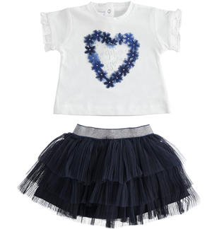 Baby girl outfit with short sleeve t-shirt with ruffles BLUE