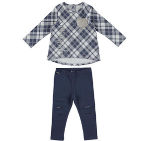 Maxi checked t-shirt and leggings outfit  BLUE