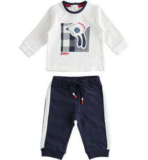 100% cotton two-piece baby set with shirt and trousers BLUE