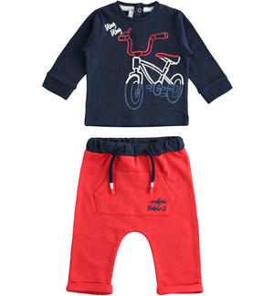 100% cotton two-piece baby set with bubble flat print shirt RED