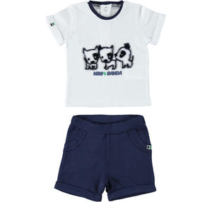 Two-piece outfit for baby boy 100% cotton WHITE