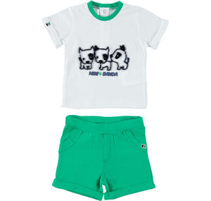 Two-piece outfit for baby boy 100% cotton GREEN