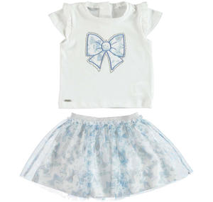 T-shirt and matching skirt two piece outfit WHITE